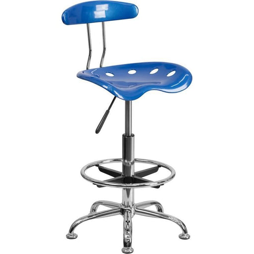 Vibrant Bright Blue And Chrome Drafting Stool With Tractor Seat - Office Chairs