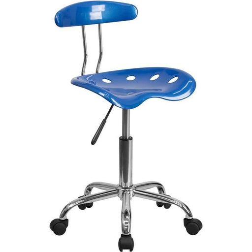 Vibrant Bright Blue And Chrome Swivel Task Chair With Tractor Seat - Office Chairs