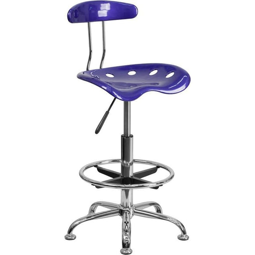 Vibrant Deep Blue And Chrome Drafting Stool With Tractor Seat - Office Chairs