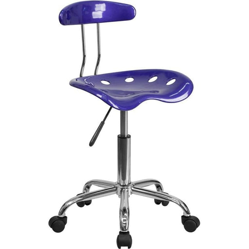Vibrant Deep Blue And Chrome Swivel Task Chair With Tractor Seat - Office Chairs