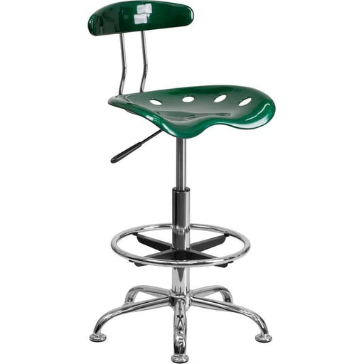 Vibrant Green And Chrome Drafting Stool With Tractor Seat - Office Chairs