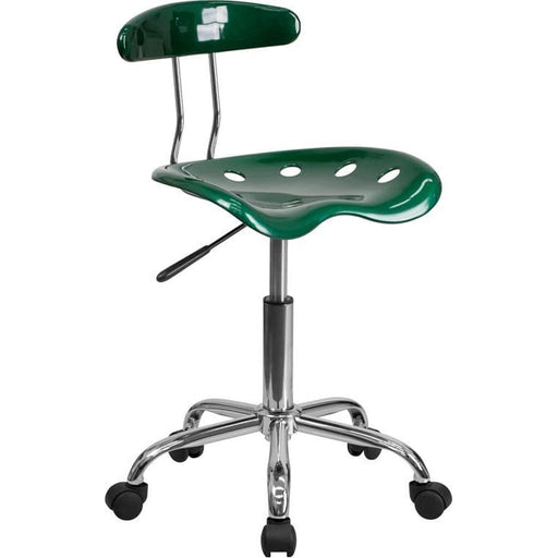 Vibrant Green And Chrome Swivel Task Chair With Tractor Seat - Office Chairs