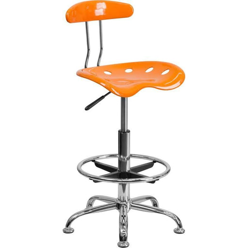 Vibrant Orange And Chrome Drafting Stool With Tractor Seat - Office Chairs
