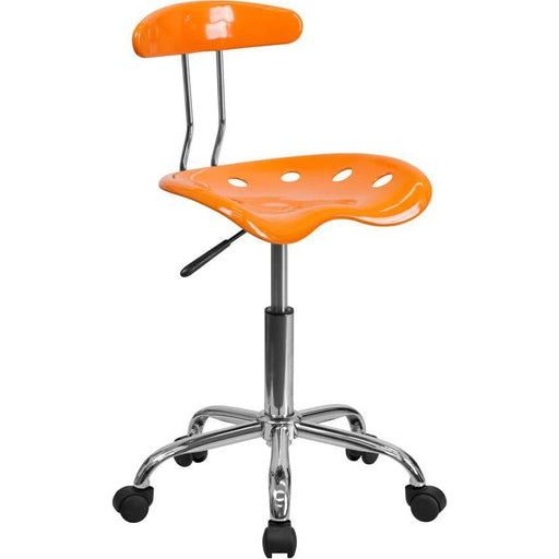 Vibrant Orange And Chrome Swivel Task Chair With Tractor Seat - Office Chairs