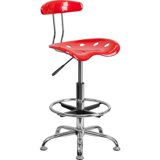 Vibrant Red And Chrome Drafting Stool With Tractor Seat - Office Chairs