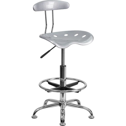 Vibrant Silver And Chrome Drafting Stool With Tractor Seat - Office Chairs