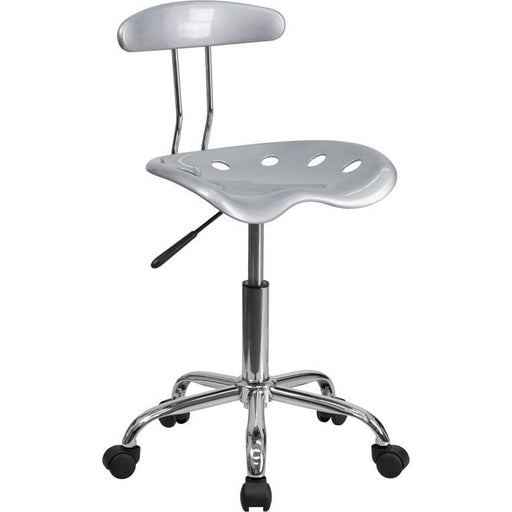 Vibrant Silver And Chrome Swivel Task Chair With Tractor Seat - Office Chairs