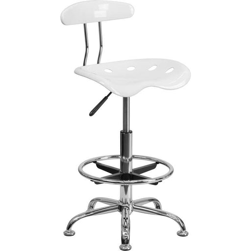 Vibrant White And Chrome Drafting Stool With Tractor Seat - Office Chairs
