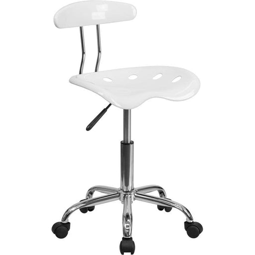 Vibrant White And Chrome Swivel Task Chair With Tractor Seat - Office Chairs