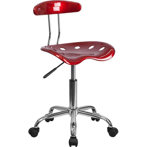 Vibrant Wine Red And Chrome Swivel Task Chair With Tractor Seat - Office Chairs