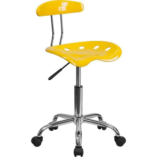 Vibrant Yellow And Chrome Swivel Task Chair With Tractor Seat - Office Chairs