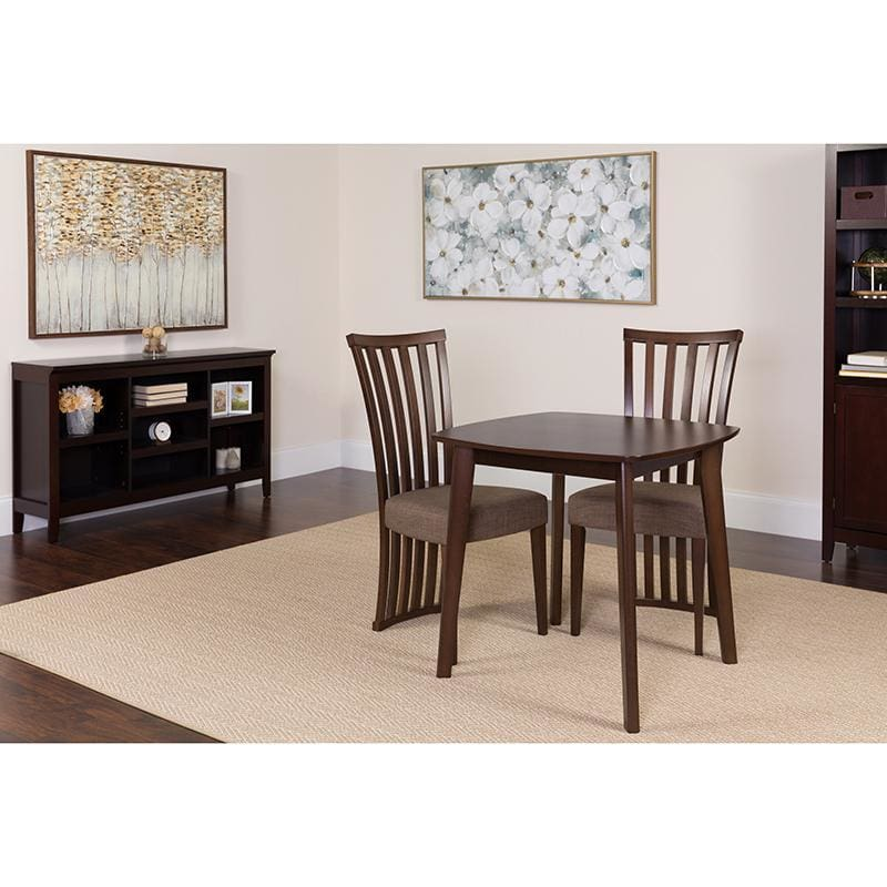 Westerly 3 Piece Espresso Wood Dining Table Set With Dramatic Rail Back Design Wood Dining Chairs - Padded Seats - Dinette Sets