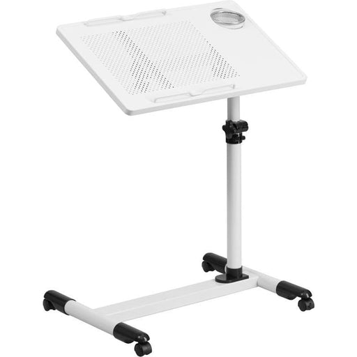 White Adjustable Height Steel Mobile Computer Desk - Desks