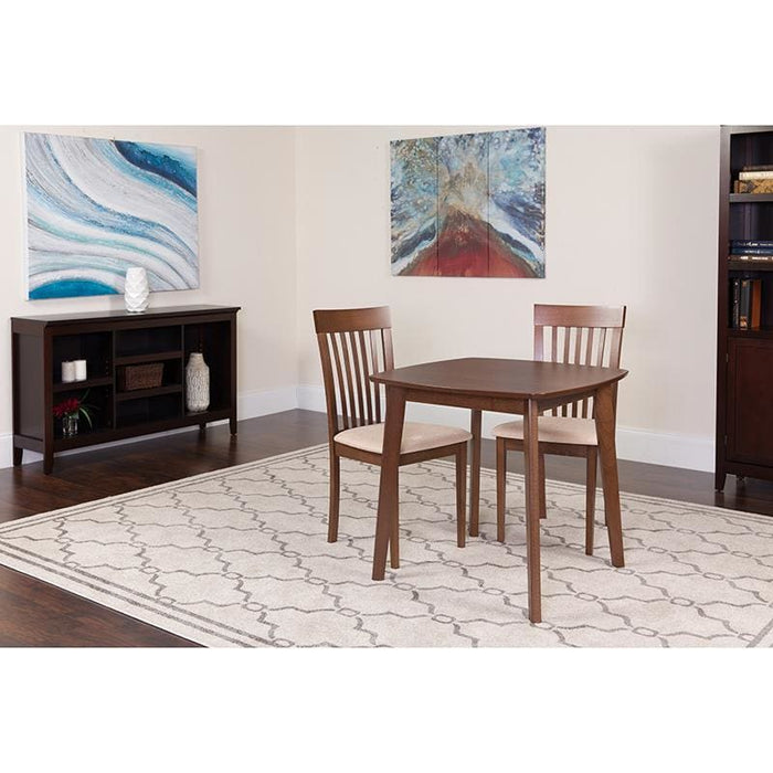 Windsor 3 Piece Walnut Wood Dining Table Set With Rail Back Wood Dining Chairs - Padded Seats - Dinette Sets
