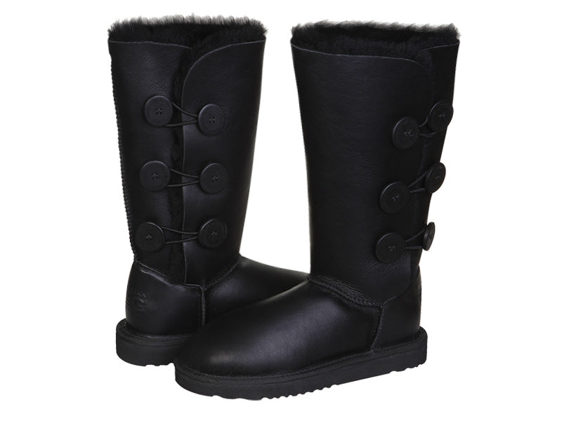 NAPPA BUTTON TALL boots. Made in Australia. FREE Worldwide Shipping. Made to order. NO Exchange. NO Return.