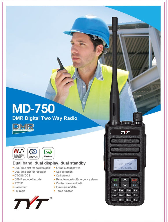 TYT MD-750 DMR two way radio 5W dual time slot dual band UHF/VHF IC Certified:10337A-MD750