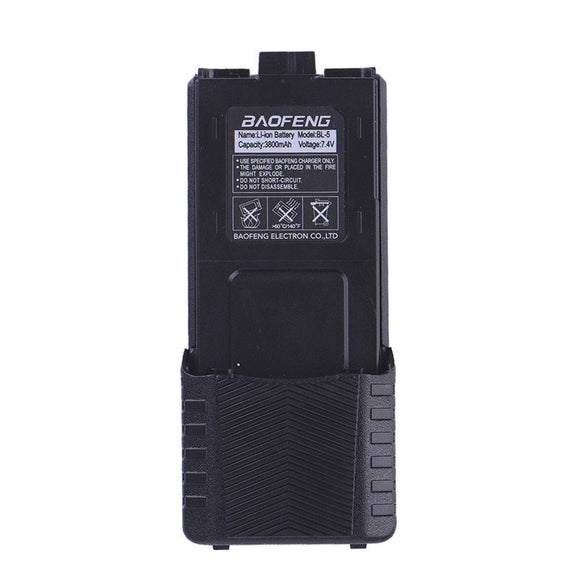 Baofeng Enlarged Batterie 3800mAh Li-ion Battery ForUV-5R V2+ UV5RQ BF-F8 BF-F8+ BF-F9 BF-F8HP DM-5R Two Way Radio Walkie Talkie Black