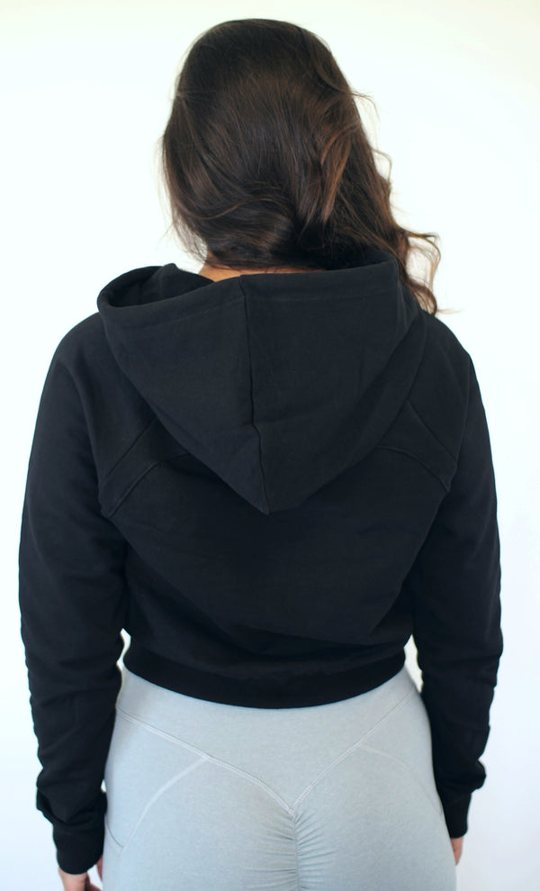 Crop It Like It's Hot Hoodie - Black