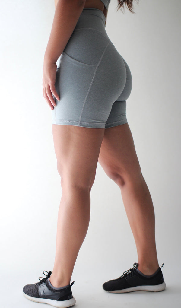 Aria Pocket Shorts- Light Grey