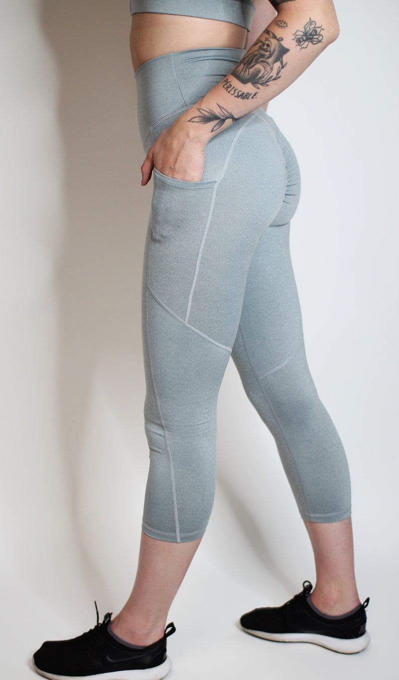 Aria Pocket Capris- Light Grey