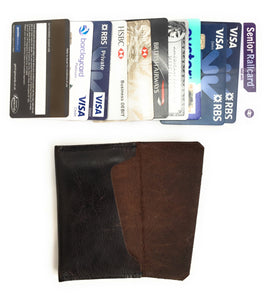 Leather Credit/Business Card Holder - Made In England - Brown Leaher