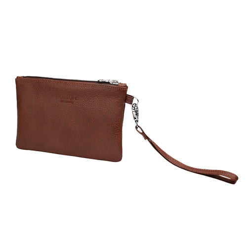 Viaggi Brown Leather wrist pouch - ideal for travelling keeping passport wallet and other items - Made in England