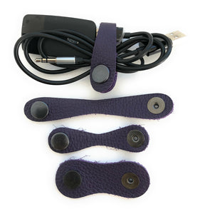 Genuine leather Cable tidy/wraps/organisers -  set of 3 strips  Assorted colours - Made in England
