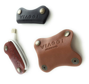 Set of 3 high quality leather tidy/wraps/organisers - Made in England - ideal for Headphone/phone cables