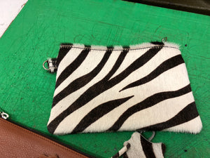 Viaggi Zebra leather wrist pouch - ideal for travelling keeping passport wallet and other items - Made In England