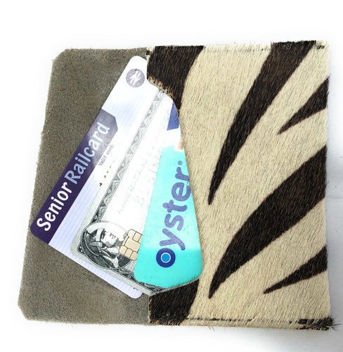 Leather Credit and Businesses Card Holder - Made In England - Zebra Finish