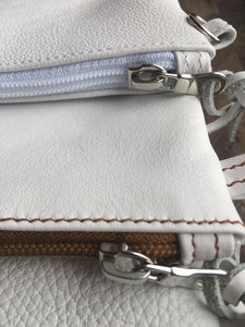 Viaggi White leather wrist pouch - ideal for travelling keeping passport wallet and other items
