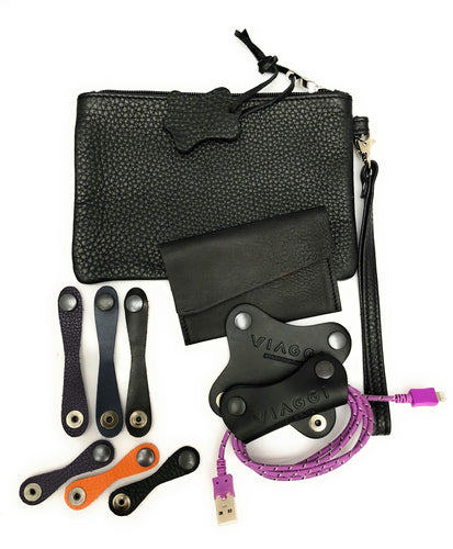 Viaggi Gift Set Made I England with Quality Leather - Wrist pouch, Cable organisers and Ties