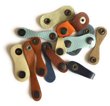 Assorted colours Genuine leather Cable tidy set of 3 strips  - Made in England