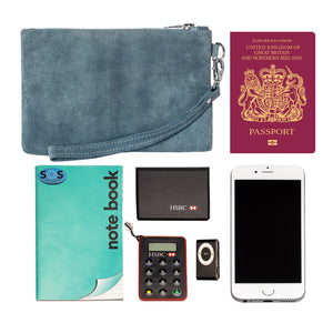 Viaggi Blue Suede leather wrist pouch - ideal for travelling keeping passport wallet and other items