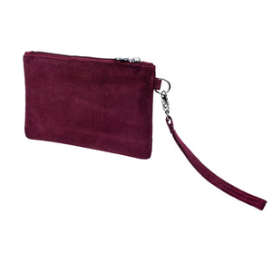 Viaggi Maroon Suede leather wrist pouch - ideal for travelling keeping passport wallet and other items