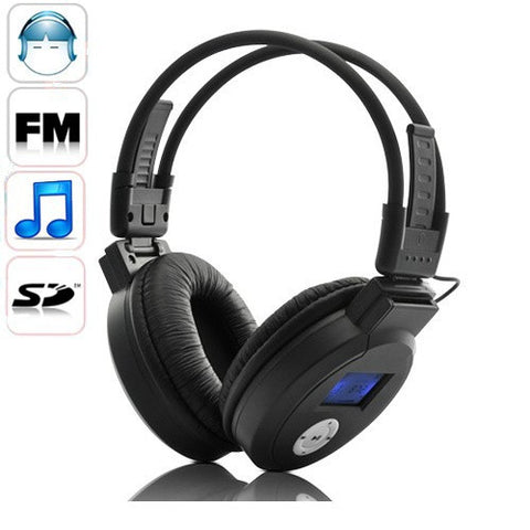 Folding Wireless Headphones FM Radio & MP3 Battery
