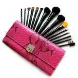 15 Piece Magenta Deluxe Reptile Make Up kit Brush Set