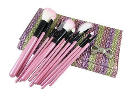 12 Piece Braided Pink Purple Make Up Kit Brush set