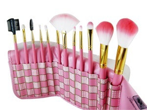 12 Piece Pink Plaid Make Up Brush Kit