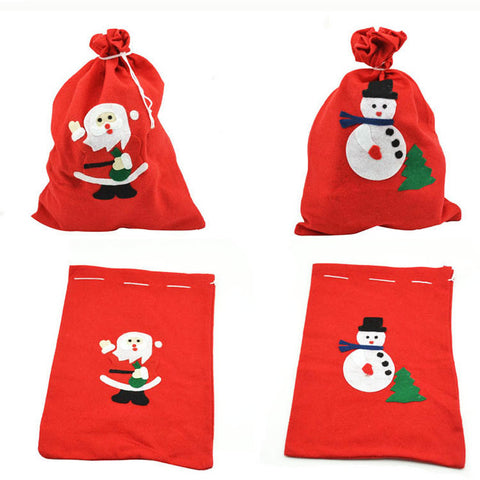 Set Of 3pcs Red Christmas Santa Tree Gift Bag