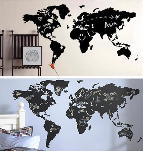 Large wall decorational world map chalkboard blackboard and chalk