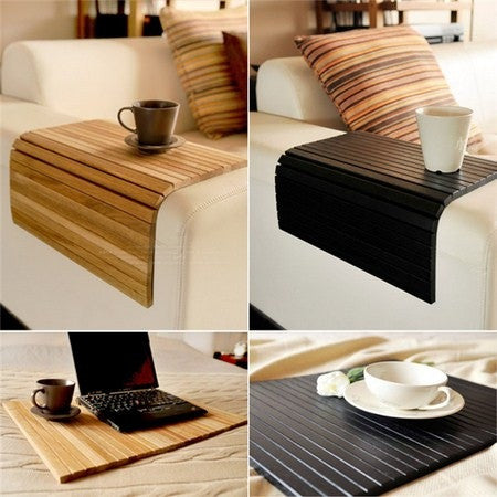 Multi purpose bamboo mat pad table