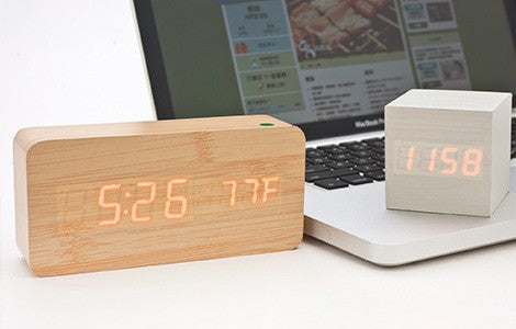 Multifunctional wooden alarm clock