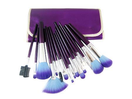 16 Piece Purple Make Up kit Brush Set