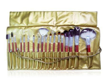 18 Piece Gold Bronze Professional Make up kit Brush set