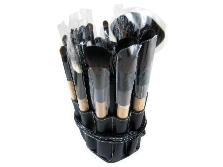 19 Piece Professional Black Color Roll Up Bag Make Up kit Set