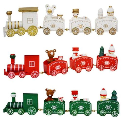 Christmas Train Painted Wood Decoration for Home