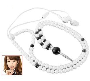 3.5mm Imitation Pearl Necklace Style Earphone Headphone for iPhone 5 5S Samsung Galaxy S 4 Note 3