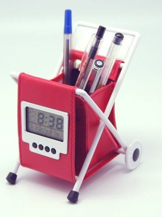 Leather pen holder cart with multifunctional clock calendar