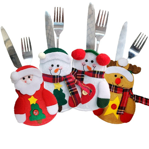 Christmas Snowman Cutlery Holder set of 4